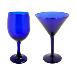 Cobalt blue wine glasses on white background