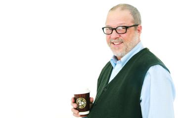 Senior man with coffee