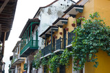 Facade of old colonial buildings. Cartagena, Colombia. poster