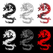 The Chinese dragon in different color scales
