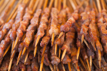 roast mutton cubes on a skewer