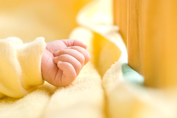infant hand in baby bed with wooden fence