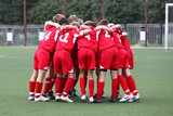 Football kinder team it red uniform poster