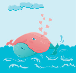 two whales in love