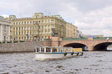 Anichkov bridge and Fontanka river