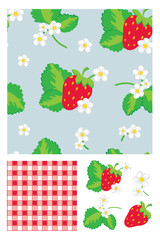 Pretty Strawberry Vector Seamless Pattern & Icons