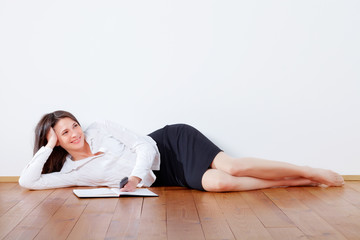 business woman relaxed at home
