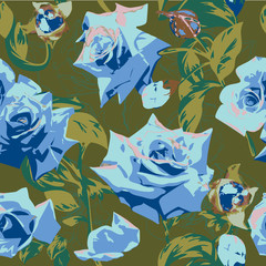 Seamless patten with blue roses on green background