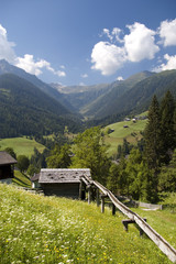 mountaiin valley village in Austrian Alps