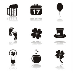set of 9 black st. patrick's day icons
