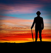 Banker standing in sunset
