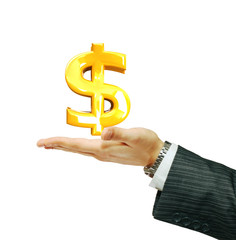 Dollar sign on the businessman's hand