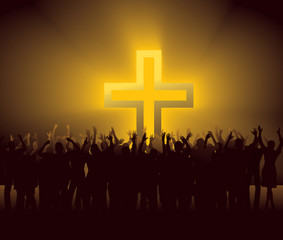 group of people around glowing Cross © Photobank