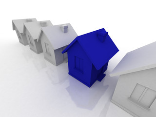 houses 3d render isolated