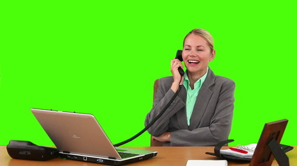 Pretty businesswoman having a phone call at her desk