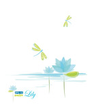 Water Lili and dragonfly, nature background, eps-10