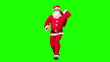 Santa Claus holding a bag of gift and dancing