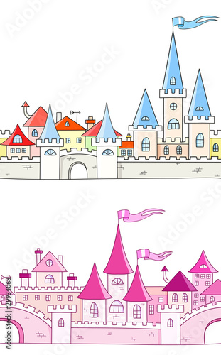 Seamless vector background with fantasy castle
