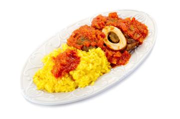 marrowbone with saffron rice tipical milan recipe