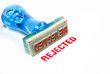 rejected blue rubber stamp