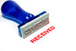 received blue rubber stamp