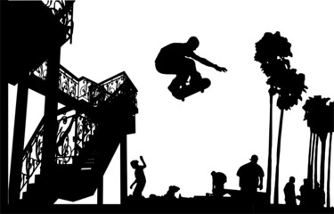 Skateboarder Leap With Spiral Stairs Silhouette Vector 06