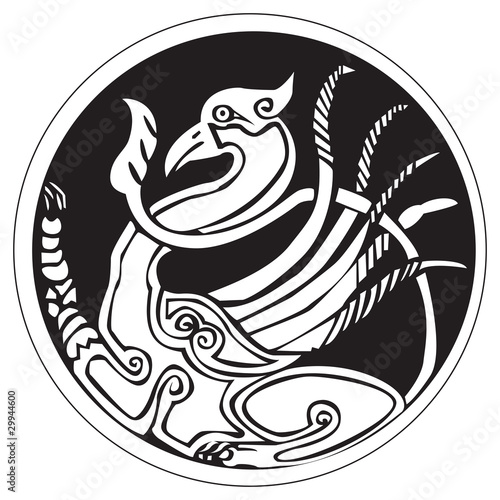 A druidic astronomical symbol of a phoenix bird