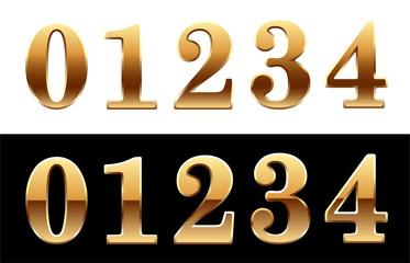 Golden font - number 0 1 2 3 4.