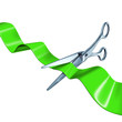 cutting the ribbon green isolated on white