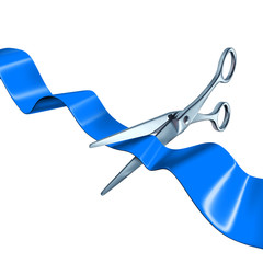 cutting the ribbon blue isolated on white