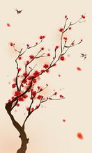 Peinture de style oriental, fleur de prunier au printemps