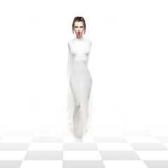 a studio impersionation of the white chess queen