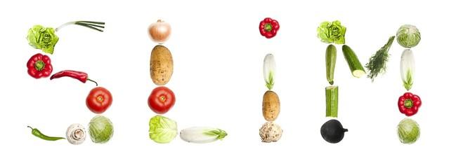 Slim word made of vegetables