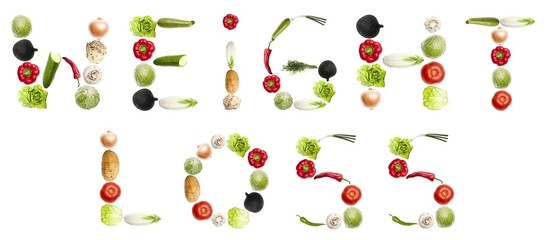 """Weight loss""words made of vegetables"