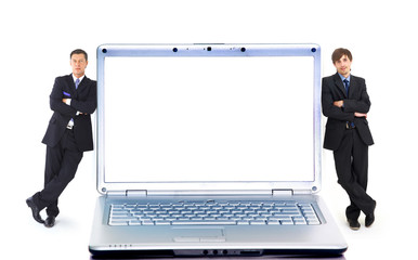 Modern laptop and two businessmans isolated on white