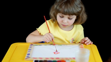 Little girl painting with watyercolors