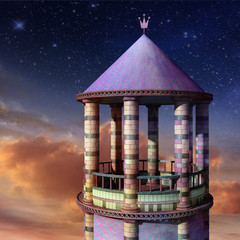 Beautiful romantic evening with Rapunzel Tower