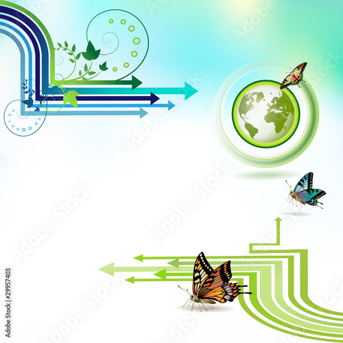 Green earth with butterflies and stripes over sky background
