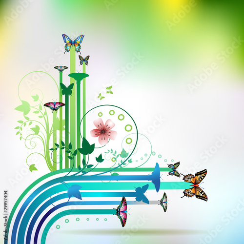 Springtime background with butterflies and stripes