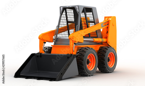 skid steer loader isolated on white background, 3d