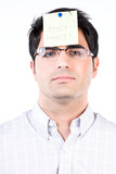Man with a note on his forehead poster