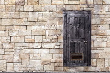 Old Wooden Door on Grunge Brick Wall