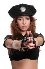 Beautiful police woman in sexy costume