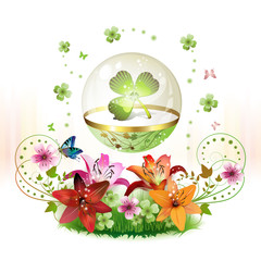 Clover in glass globe with flowers for St. Patrick's Day