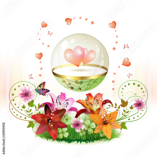 Hearts in glass globe and flowers for Valentine's day