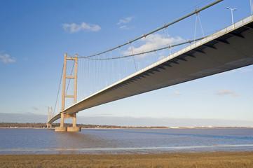 Large suspension bridge over a river