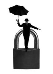 Businessman on padlock