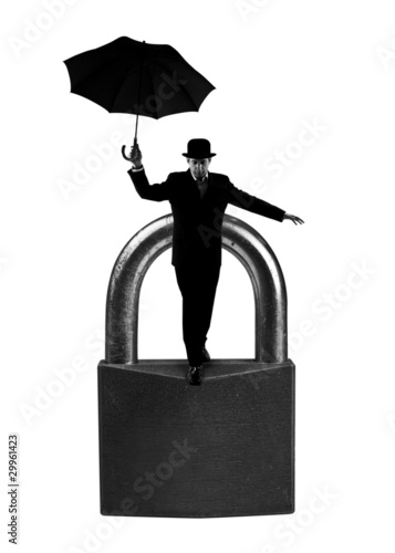 Businessman on padlock