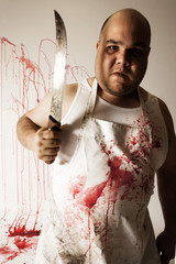 Crazy butcher with large knife