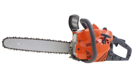 New chainsaw isolated on white background